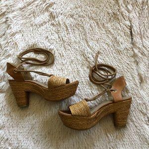Stuart Weitzman woven lace up heels